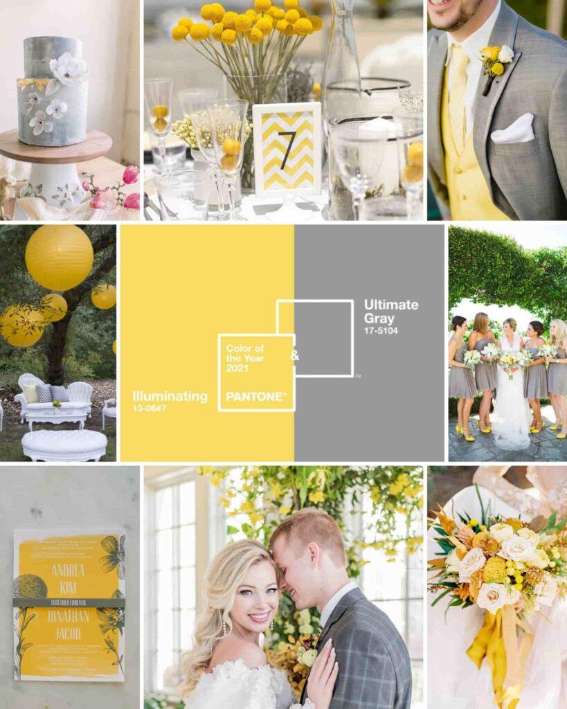 Montagem com diversas imagens de casamento.