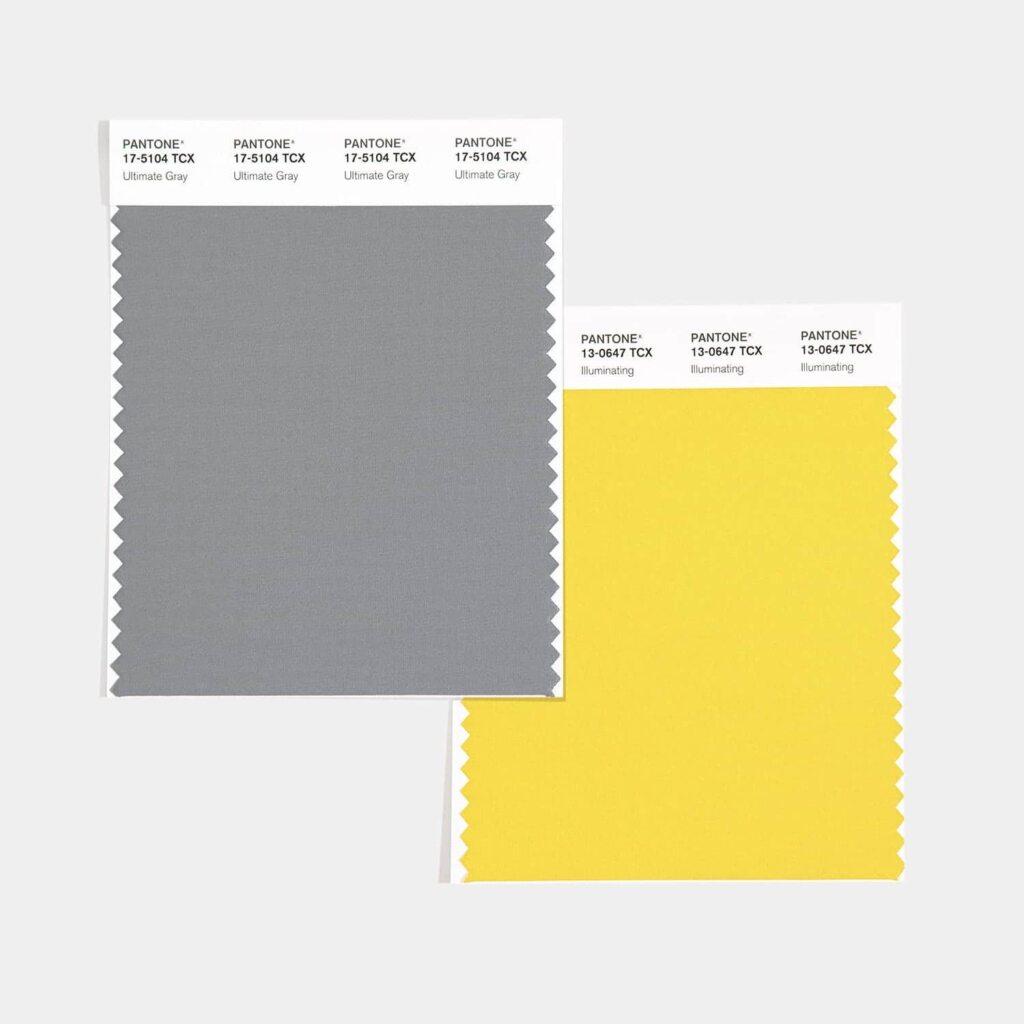 Imagem com amostras dos dois tons: Ultimate Gray e Illuminating.